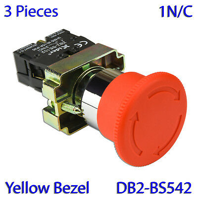 (2 PCs) XB2-BS542 RED Mushroom 1NO & 1NC Emergency Stop Push-button Switch