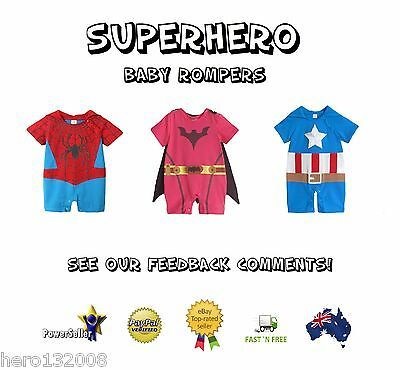 Superhero Baby Boys Girls Spiderman Batman Captain America Costume Outfit Romper