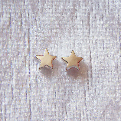 2 x 5mm Solid Sterling Silver Star Decorative Spacer Beads Small