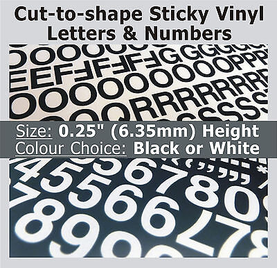 """1020 x Sticky Letters & Numbers 0.25"""" , Self-Adhesive , Plastic Vinyl Lettering"""