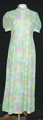 LOVELY VINTAGE 1960s ROMANTIC DOLLY WEDDING FESTIVAL PARTY MAXI DRESS 10/12 BLUE