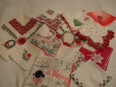 VINTAGE CHRISTMAS HANKIE HANKY HANDKERCHIEF - Lot of 13 incl. Welcher
