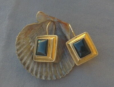 Vintage Pierced Square Black Stone Silver Gold Wash Earrings