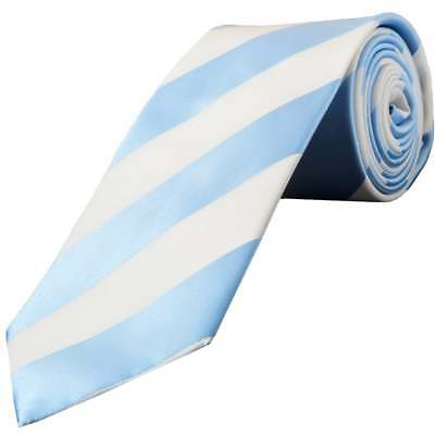 TiesRUs Sky Blue and White Striped Hand Made Classic Men's Football Tie