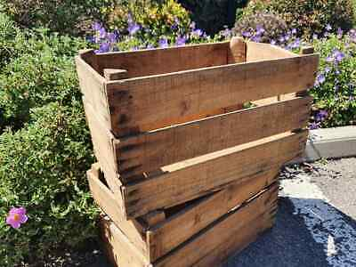 Vintage Wooden Tissot Pear Fruit Crates Rustic Old Bushel Box French Apple .*