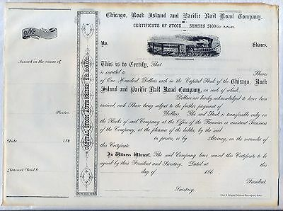 Chicago Rock Island & Pacific Railroad Company Stock Certificate 186_