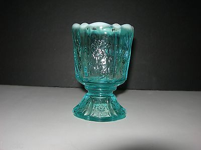 Lovely Vintage FENTON~Opalescent Blue Pedestal Glass PANEL DAISY~Candle Holder