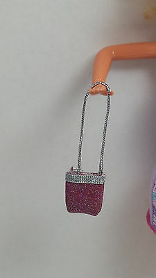 Barbie Doll ACCESSORY Clothes Fashion Purse Bag Tote Pink and Silver Glitter 3+