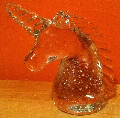 Vintage Unicorn Crystal Clear Glass Unicorn Paperweight figurine no chips