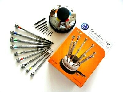 Screwdriver Set 9pc rotating Stand Swiss watch makers hobby tool IW SUISSE USA