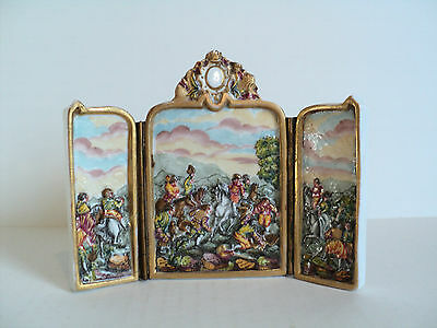 RARE 19th C. CAPO-DI-MONTE HAND ENAMELED MINIATURE 3-PANEL SCREEN HUNTING SCENE