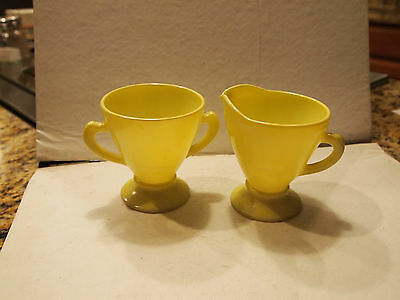 Vintage Hazel Atlas Yellow Chartreuse Creamer and Two-Handled Sugar Bowl
