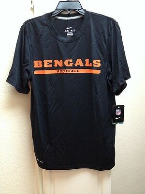 8365b260 CINCINNATI BENGALS NFL Black NIKE DRI-FIT Mens Size Small Shirt NWT ...