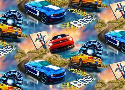 New! Fleece Ford Mustang Cars Allover Fleece Fabric Print by the Yard #o1413s-E4