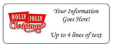 60 Personalized Holly Jolly Christmas Return Address Labels