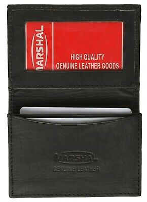 Black Leather Wallet Business Card Holder Expandable CreditCard with ID Window