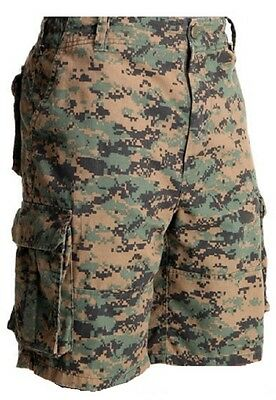 Woodland Digital Camo Military Vintage Army Paratrooper Shorts Cargo Shorts 2591