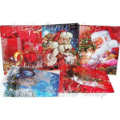 5 SHOPPERS NATALIZIE cm 21x18 Sacchetti NATALE Buste Regalo MEDIE Shopping Bags