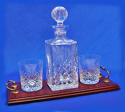 TWO WHISKY GLASS DECANTER TRAY SET Hand Cut Crystal Amazing Value ENGRAVED x 2