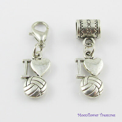 I love Netball Charm Volleyball Select European Bail or Clip on Clasp