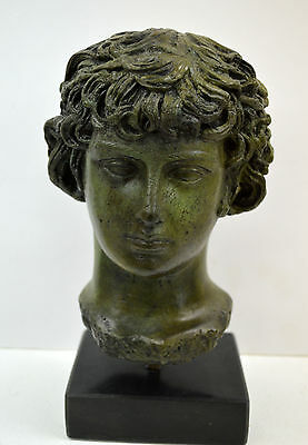 Bronze sculpture Antinous, Antinoos statue bust marble based artifact