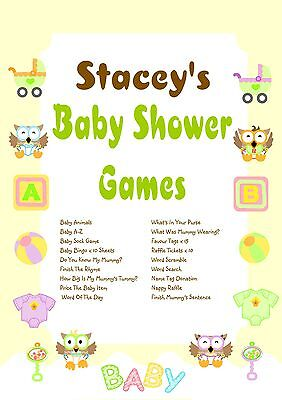 Personalised Baby Shower Games on CD | Owl Theme | NOT PRINTED SHEETS
