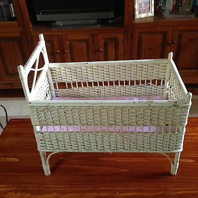 Antique Wicker Cane Doll Cot