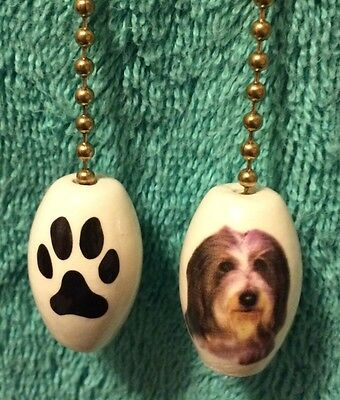One Bearded Collie Dog Fan Pull With A Paw Print On The Back 1""