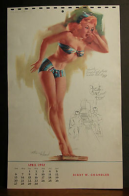 Ted Withers Calendar Page April 1952 Maisie Says High Places Make Her Dizzy