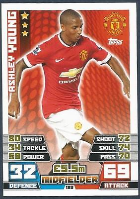 Topps Match Attax 2014-15- #189-Manchester United-Ashley Young