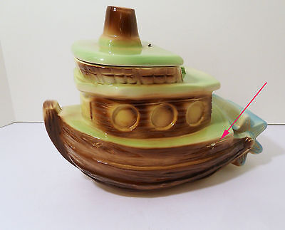 Rare American Bisque Pottery Cookie Jar Stern Wheeler With Bell In Lid- Tug Boat