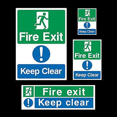 Fire Exit Keep Clear Emergency Exit Plastic Sign or Sticker - All Sizes