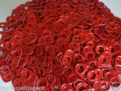 500 Red Budweiser Beer Can Aluminum Bud Pop Tops Decurled Crafting Pull Tabs