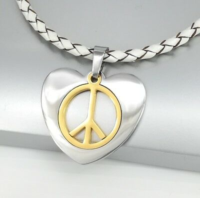 Girly Pink Rose Light Rhinestone Peace Sign Heart Love Pendant Necklace Gifts