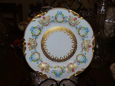 "POUYAT JP Limoges France Gold ART NOUVEAU 8.5"" WREATH RIBBON ROSES CABINET PLATE"