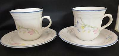 French Garden Stoneware Pair of Cups & Saucers Exc. Used. Cond.