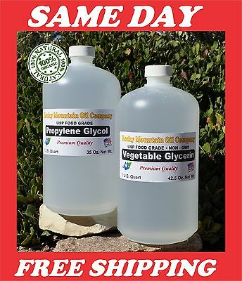 2 Quart Non-Gmo Vegetable Glycerin + Propylene Glycol Usp Food Grade Pg Vg