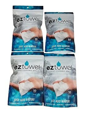 4 bags EZ Towels- 200 Compressed tablets including (4) handy refillable tubes