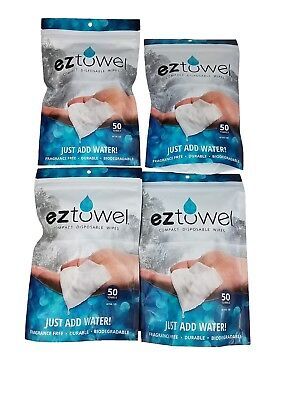 EZ Towels- 4 bags -200 Compressed tablets including (4) handy refillable tubes