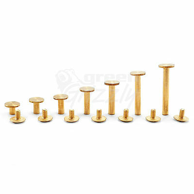 Solid brass 9 mm wide Chicago Screws Studs 6 8 10 14 18 25 29 mm Binding book