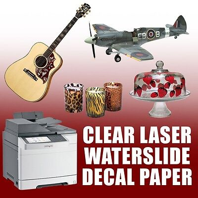 "20 Sheets Waterslide Decal Paper, Clear For Laser Printer  8.5"" X 11"" :)"