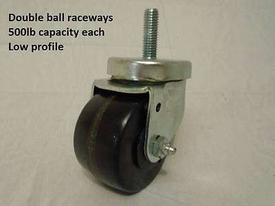 "3"" w/ 1/2"" x 1-1/2"" Threaded Stem Ice Machine Style Caster Low Profile 500lb ea"