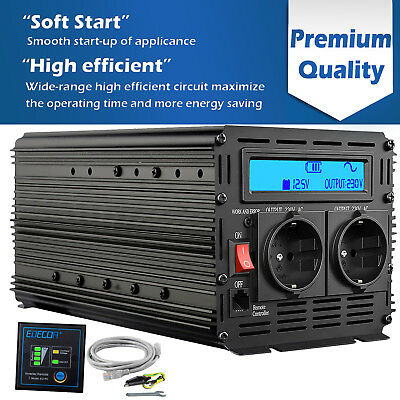 Power Inverter 1500W 3000W DC 12V AC 240V Pure Sine Wave  Converter with LCD