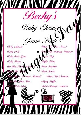 1 Personalised Baby Shower Party Games for 10 guests | Favour Tags | Pink Zebra