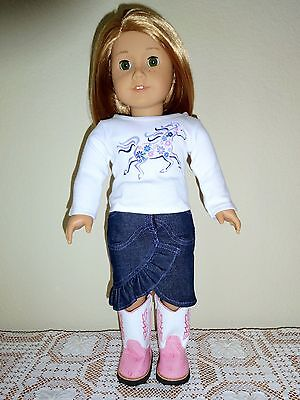 """NEW-DOLL COWGIRL SKIRT,TOP,BOOTS _Lot #89 fit18"""" Doll such as American Girl Doll"""