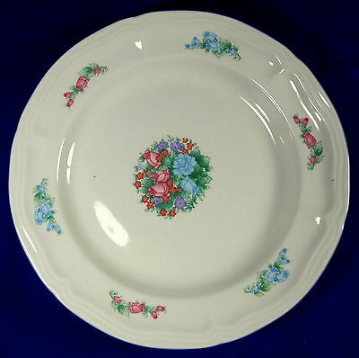 """2 Spring Meadow Stoneware 7 3/4"""" Salad Plates China Pink Blue Flowers"""
