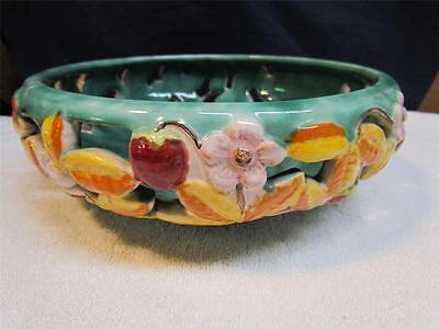 Austria Gmundner Art Dish ~ Fruit Bowl ~ Keramik Hand Painted ~ RARE