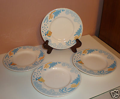 "Set of (4) Edgewater Bread/Butter Plates ""Fish & Waves Design"" Very Cute - EUC"