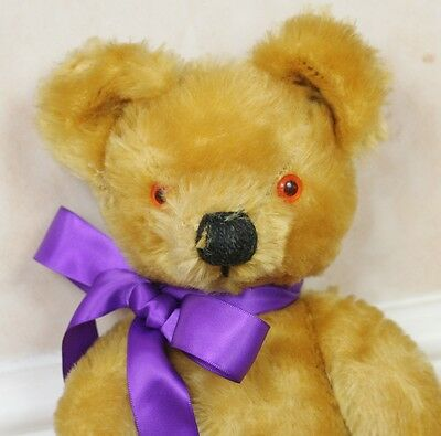 """Vintage 1970s Chad Valley English Mohair Jointed Old Teddy Bear 14"""" Tall"""