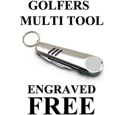 GOLFERS PERSONALISED MULTI TOOL KEYRING New Superb Value Golf Gift ENGRAVED FREE